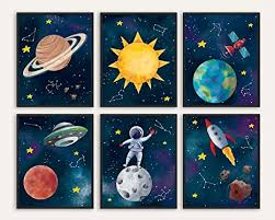 Amazon Com Space Themed Bedroom Decor 8x10 Inches Unframed Set Of 6 Sun Earth Planet Star Rocket Astronaut Outer Space Room Decor Space Decorations For Kids Room Space Poster Space Wall Decor