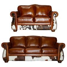 lk3 rustic leather and cowhide sofa set