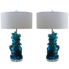 rock candy glass table lamps in teal