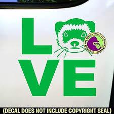 Amazon Com The Gorilla Farm Love Word Ferret Weasel Ferrets Vinyl Decal Sticker Car Window Door Wall Bumper Laptop Sign Green Home Kitchen
