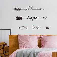 Wall Decal Decor Arrow Wall Decal Faith Hope Love Vinyl Sticker Decals Feather Arrow Wall Decal Indie Boho Bohemian Bedroom Dorm Wall Art Sticker Wish