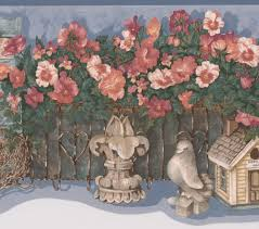 Red Flowers Garden Fence Shed Tools Farmhouse Wallpaper Border Retro Design Roll 15 X 7 5 Walmart Canada