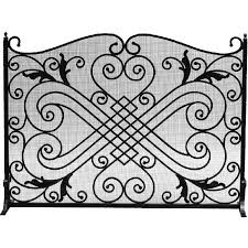 panel black wrought iron fireplace