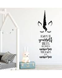 Amazing Savings On Always Be A Unicorn Quote Wall Decal Design Vinyl Decor For Boy S Or Girl S Bedroom Playroom Or Bathroom Teen Girl Room Decoration White Black Gold Other