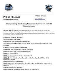 PRESS RELEASE For immediate release Championship Bull Riding ...