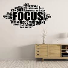 Focus Wall Decal Motivational Sign Gym Quote Word Poster Fitness Sport Vinyl Sticker Inspirational Bedroom Homegym Decor Wall Stickers Aliexpress