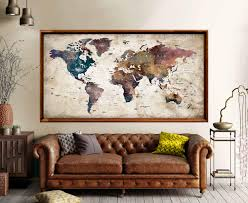 Large World Map Poster Print World Map Wall Art World Map Art Print World Map Print World Map Vintage World Map Push Pin World Map Decal Map