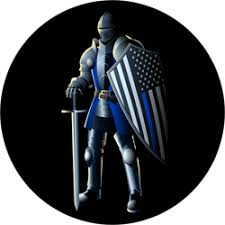 Knight With Thin Blue Line Flag Police Sticker