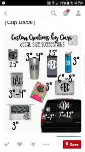 Decal Sizes Placement Monogram Decal Yeti Car Monogram Decal Yeti Monogram
