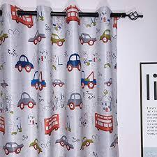 Amazon Com Myru 1 Pair Cartoon Car Room Darkening Semi Blackout Short Curtains For Kids Room 2 X 39 Width By 36 Length Home Kitchen