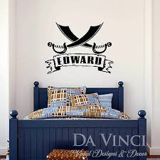 Personalized Custom Name Pirate Cross Swords Vinyl Sticker Wall Decal Decoration