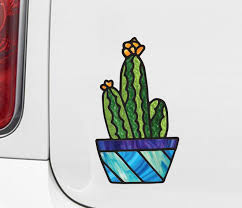 The Decal Store Com By Yadda Yadda Design Co Clr Car Potted Cactus Plant D2 Stained Glass Style Vinyl Car Dec
