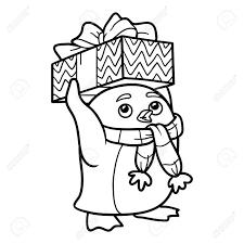 Kleurboek Voor Kinderen Leuke Pinguin Met Kerst Cadeau Royalty