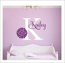 Girls Name Decal Flower Wall Decal Girls Bedroom Decal Vinyl Etsy