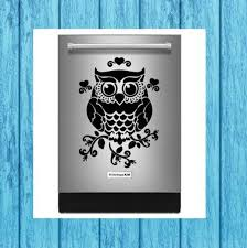 Floral Owl Dishwasher Decal Floral Owl Appliance Decal Kitchen Decal Craft Decal Home Decor Deca Owl Decal Computer Decal Vinyl Decals