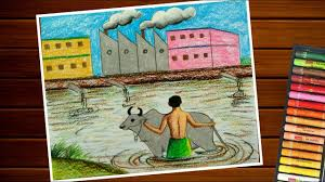 drawing on water pollution air