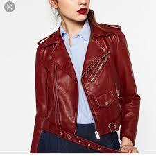 zara faux red leather jacket cropped s