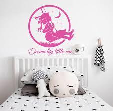 Dream Big Little One Wall Decal Nursery Wall Decal Girl Nursery Decals Girl Decal Moon And Star Decal Baby Girl Wall Decor Swing Decal Baby Girl Wall Decor Nursery Decals Girl