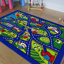 Amazon Com Kids Baby Room Daycare Classroom Playroom Area Rug Blue City Roads Map Train Tracks Cars Play Mat Fun Educational Non Slip Gel Back 3 Feet X 5 Feet Toys Games