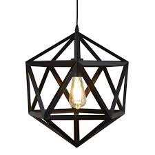 light geometric pendant matt black