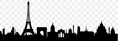 Paris Skyline Silhouette Mural Wall Decal Png 868x304px Paris Black And White Building City Cityscape Download