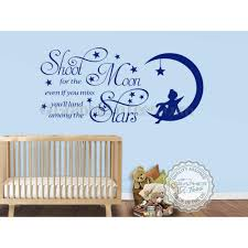 Shoot For The Moon Stars Wall Stickers Baby Boy Girl Nursery Bedroom Playroom Wall Quote Decor Decals With Fairy On Moon