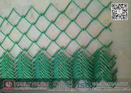 Green Color Pvc Coated Chain Link Fence 50x50mm Mesh Aperture 3 8mm Wire