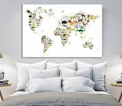 Animal World Map For Kids Room Extra Large Wall Art Canvas Print
