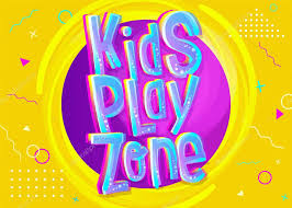 Kids Play Zone Vector Banner In Cartoon Style Bright And Colorful Illustration For Children S Playroom Decoration Funny Sign For Kids Game Room Yellow Background With Childish Geometric Pattern Premium Vector In