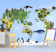 Australian Kids Animal World Map Location Decal Tenstickers