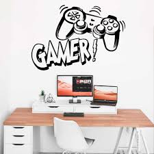 Large Gamer Vinyl Wall Sticker Game Room For Kids Baby Room Decoration Gaming Boys Decor Wall Decals Poster Wallpaper Mural Wall Stickers Aliexpress