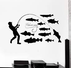 Vinyl Wall Decal Fisherman Fishing Hobby Fishes Stickers Mural Unique Wallstickers4you