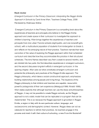 PDF) Emergent Curriculum in the Primary Classroom: Interpreting the Reggio  Emilia Approach in Schools by Carol Anne Wien. Teachers College Press, 2008  Reviewed by Shahnaaz Alidina