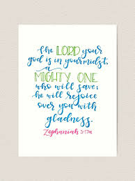 Zephaniah 3 17 Art Print By Amwlettering Redbubble