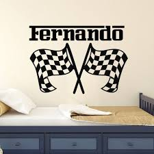 Nursery Decor Personalized Name Wall Sticker Car Racing Wall Decal Race Flags Wall Art Mural Removable Custom Name Decals Wall Stickers Aliexpress