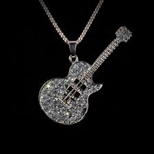 rose gold guitar pendant with crystals