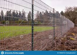 A Welded Wire Mesh Fence On A Border Of A Farm Field Stock Photo Image Of Farming Wall 170996770