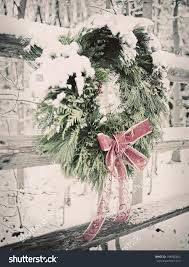 Wreath Red Ribbon Tied Fence By Stock Photo Edit Now 198065405