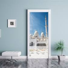 Art Diy Personalized Islamic Muslim Building Patterns Door Sticker Pvc Poster Waterproof Removable Vinyl Decal Self Adhesive Home Decoration White Tree Wall Stickers White Vinyl Wall Decals From Fst1688 30 15 Dhgate Com