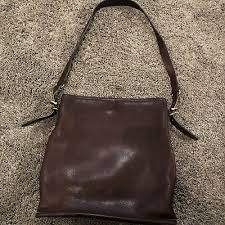 vintage all leather coach purse brown