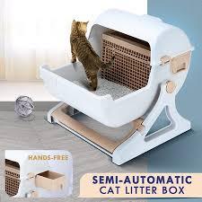 Petscene Cat Litter Box Pet Semi Automatic Cat Toilet Cat ...
