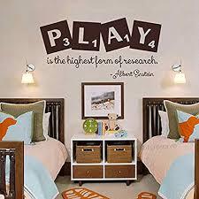 Amazon Com Battoo Playroom Decor Play Is The Highest Form Of Research Albert Einstein Quote Kids Room Decor Children Wall Decal Dark Brown 11 H X22 W Home Kitchen
