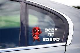 Auto Parts And Vehicles Kids Vehicle Vinyl Decal Family Car Window Sticker Deadpool Baby On Board Nutree Ba