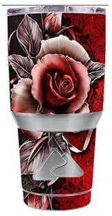 Amazon Com Skin Decal Vinyl Wrap For Ozark Trail 30 Oz Tumbler Cup 6 Piece Kit Beautful Rose Design Kitchen Dining