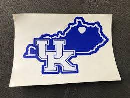 Univeristy Of Kentucky State Decal Uk Car Decal Laptop Etsy