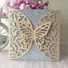 Compre 35 Unids Hermosa Mariposa Patron Perla Papel Invitaciones