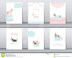 Sistema De Tarjetas De Las Invitaciones Del Cumpleanos Cartel Saludo Plantilla Animales Perros Ejemplos Del Vector Ilustracion Del Vector Ilustracion De Dachshunds Bebe 86138628