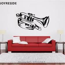 Joyreside Jazz Music Band Wall Decal Instrument Trumpet Wall Sticker Misical Art Vinyl Decor Home Livingroom Interior Designa821 Wall Stickers Aliexpress