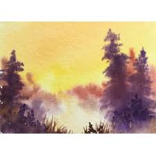 "Autumn Mists ACEO miniature Original Art 3.5"" x 2.5"" by Pamela West in 2020  