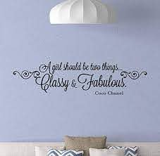 Amazon Com A Girl Should Be Two Things Classy And Fabulous Wall Decal Coco Chanel Quotes Poster Inspirational Gifts Vinyl Sticker Decor Wall Made In Usa Fast Delivery Home Kitchen